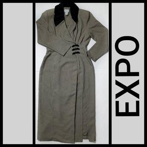Career Wrap Houndstooth Maxi Dress